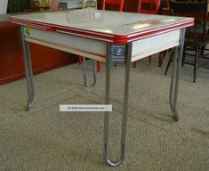 Sale Red White Enamel Table C.  1936 Deco Chrome Leaf Drawer Ingram Richardson Pa 1900-1950 photo