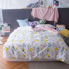 100% Cotton 4pcs Bedding Sets Queen/King Cartoon Diagonal Printing Europe Home Duvet Cover Sets Cartoon Sweet Style New arrival