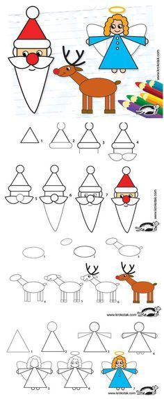 How to draw Santa, angel, and reindeer.
