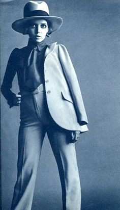 Biba suit in1960s. I think the high waist trousers add a womanly look to the suit