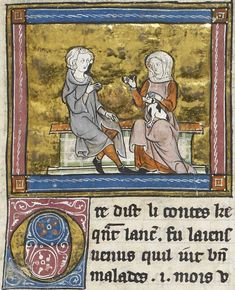 Detail of a miniature of Sir Lancelot, in conversation with a lady holding a small dog on her lap; from Morte Artu, France (St Omer or Tournai?), c. 1315-1325, Royal MS 14 E. iii, f. 146r