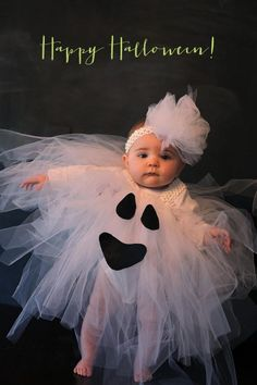 Boo cute: ghost costume for baby. #Tulle #Tutu