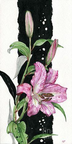 Flower Lily 02 Elena Yakubovich Painting  - Flower Lily 02 Elena Yakubovich Fine Art Print