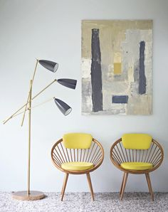 love the lemon chair and picture accents - looks great against gray.