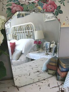 Darling little shabby chic French style Art Deco mirror