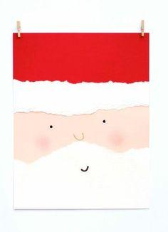 Diy Christmas Cards Torn Paper Santa