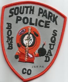 "South Park Bomb Squad - red, CO (4"" x 4.5"" size) shoulder police patch (fire) 