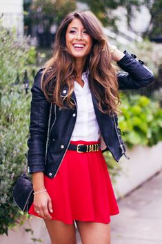Red High Waist Flare Woolen Skirt