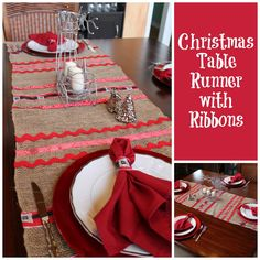 Christmas Table Runner with Ribbons.this cute table runner is perfect for the holiday season! DIY Christmas table runner with ribbon. Christmas Time, Christmas Ideas, Christmas Gifts, Twas The Night, Diy Ribbon, Create And Craft, Merry And Bright, Holiday Decorating, Xmas Decorations