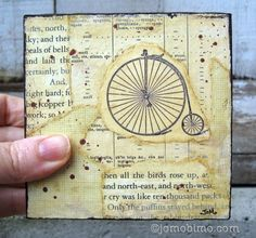 Velocipede Bicycle Collage on Wood