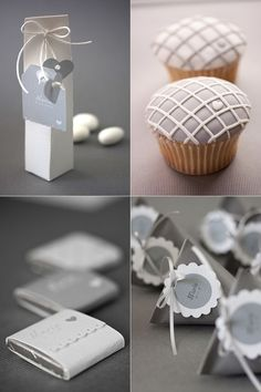 Gray cupcakes and favors Party Favors, Wedding Favors, Ideas Para Fiestas, Deco Table, Baby Party, Candy Buffet, Communion, Christening, Party Planning
