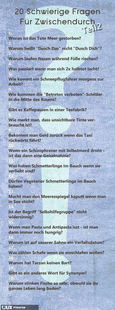 20 Schwierige Fragen Für Zwischendurch TEIL2..