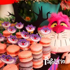 Cheshire Cat macarons at an Alice in Wonderland birthday party! See more party ideas at CatchMyParty.com!
