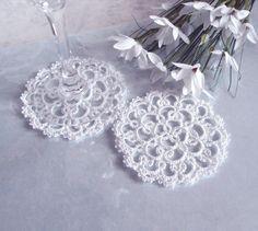 Wedding Lace Coasters (Set of two) - Rosetta - Size 1. $17.00, via Etsy.