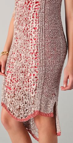 """sold out Rachel Roy Techno Tape Knit Dress - detail:  ribbon-knit dress features open-knit panels and a wide neck. Side slits and metallic trim at asymmetrical hem. 2"""" straps. Contrast lining."""