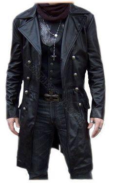 Black biker leather coat