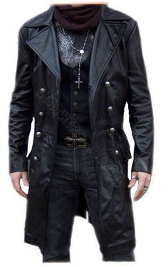 Black biker leather coat