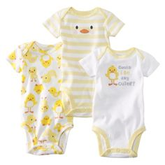 JUST ONE YOU ™ Made by Carter's ® Infant Boys' 3-Pack Bodysuit -Yellow. gender neutral.So Cute!!!