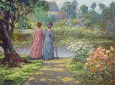 """Damas em Giverny (óleo sobre tela - 47x59cm - 2005)   Quadro pintado por Washington Maguetas, imaginando como estariam as duas irmãs de rosa e azul do quadro """"Elizabeth e Alice de Anvers"""" (Les Demoiselles Cahen d'Anvers – Rose et Bleue), pintado por Renoir em 1881"""