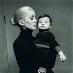 Catherine Deneuve and Chiara Mastroianni (her daughter by Marcello Mastroianni), photographed by Richard Avedon, 1970s.