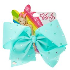 <P>Get the ultimate dancing hair accessory with this super fun large mint coloured hair bow from the JoJo Siwa collection. The bow has been attached to a metal salon clip making it really easy to wear and has been covered in rhinestones so you will sparkle from head to toe. </P><UL><LI>JoJo Siwa collection <LI>Large mint rhinestone bow <LI>Metal salon Clip</LI></UL...