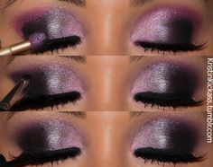 black/pink/purple eye makeup, purple, eyeshadow, color, beauti, green eyes, purpl smokey, hair, shadows