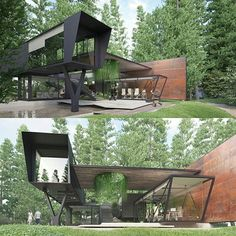 I love how this modern home embraces it's surroundings, and has nature within its interior. This open floor plan makes the house seem bigger, and exposes the beauty of the environment more. There is a lot of contrast in this piece. If I could change anything about this house, I would add another floor to it with sun-roofs.