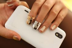 Fashoin Costume Vintage Style Nail Ring Surface Inset Some Small Rhinestone Alloy Nail Art Ring - Yaling Jewelry
