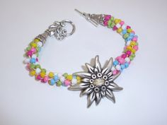 Bright Summer Colors Beaded Kumihimo Bracelet with Silver Flower Button Focal on Etsy, $22.00