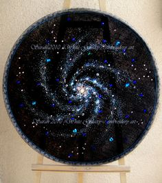 beadwork embroidery, created by me and mom Sarah. 2007 size large, x ft Space art, crystal galaxy beadwork embroidery Hand Embroidery Flowers, Embroidery Hoop Art, Beaded Embroidery, Cross Stitch Embroidery, Embroidery Patterns, Cross Stitch Patterns, Spiral Galaxy, Patch, Bead Crafts
