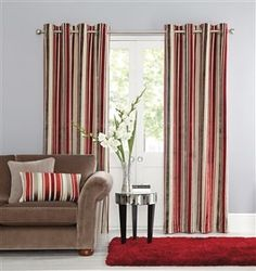Buy Luxury Velvet Stripe Eyelet Curtains from the Next UK online shop