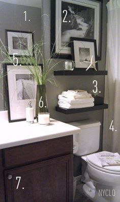 1. Paint walls with an existing neutral color (grey)  2. Cover an awkward window with a picture 3. Floating shelves add storage + display 4. Window panels as shower curtains add height 5. Personal photos shot + framed 6. Details: greens - even faux - give life to a space + scented candle keep space smelling fresh. 7. Add door knobs to cabinet