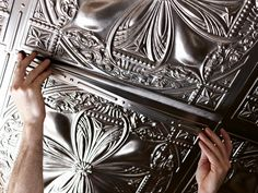 Get the look of glamour on your ceiling with unbelievably real-looking fake tin tiles. Tin Tiles, Tin Ceiling Tiles, Tin Ceiling Kitchen, Corrugated Tin Ceiling, Plafond Staff, Cigar Room, Cabinet Decor, Rv Interior, Interior Design