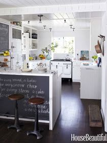 Kitchen Chalkboard Vintage Stove - White Vintage Kitchen Stove - Beach House Decor Ideas - House Beautiful-- an all time beautiful, memorable vintage kitchen! Deco Design, Küchen Design, House Design, Interior Design, Design Ideas, Garden Design, Interior Colors, Balcony Design, Gray Interior