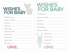 Free Baby Shower Kraft Woodland Fox - Activity Wishes for Baby ...