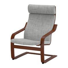 IKEA - POÄNG, Chair, Isunda gray, medium brown, , Layer-glued bent beech frame gives comfortable resilience.The high back provides good support for your neck.The cover is easy to keep clean as it is removable.A variety of seat cushion designs makes it easy to change the look of your POÄNG chair and your living room.To sit even more comfortably and relaxed, you can use the armchair together with a POÄNG footstool.10-year limited warrranty. Read about the terms in the limited warranty…