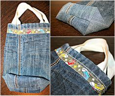 Geburtstagsbeutel aus alten Jeans / Birthday bags made from old jeans / Upcycling