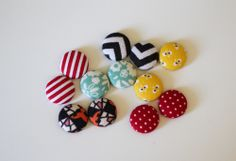 Fabric Covered Button Earrings - 52 Weeks Project