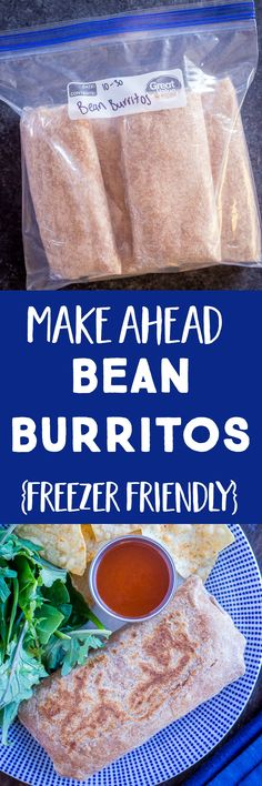 These Make Ahead Bean Burritos are so great to have on hand for a quick and easy meal! You can throw them in the oven or microwave to heat up and they Vegetarian Meal Prep, Best Vegetarian Recipes, Healthy Meal Prep, Lunch Recipes, Healthy Dinner Recipes, Mexican Food Recipes, Cooking Recipes, Baby Recipes, Avocado Recipes