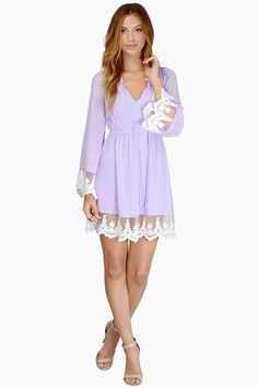 Light Purple High Waist Pleated Casual Dress ($14) ❤ liked on ...