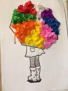 Décorer un parapluie avec les couleurs de l'arc-en-ciel, une activité Montessori pour découper et coller du papier de soie sur un dessin à personnaliser.