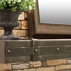 allegheny steel fireplace mantel shelf with hammered aged iron banding
