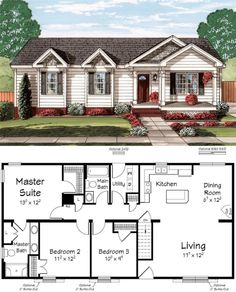 House Plan chp 46185   Floor Plans   Pinterest   Bedrooms  House and     Ritz Craft Custom Homes      Small floor plansCottage