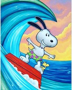 Snoopy the surfer hanging ten, with Woodstock Snoopy The Dog, Snoopy And Woodstock, Peanuts Cartoon, Peanuts Snoopy, Peanuts Characters, Cartoon Characters, Snoopy Pictures, Snoopy Wallpaper, Snoopy Quotes