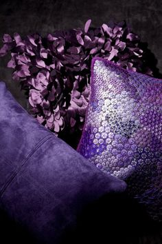 Purple pillows - ideal for adding splashes of purple to a bedroom or living room Purple Love, All Things Purple, Purple Lilac, Shades Of Purple, Deep Purple, Red And Blue, Light Purple, 50 Shades, Mauve