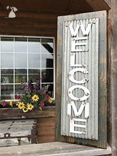 """WELCOME SIGN Vertical for Home *Rustic Metal Tin Welcome on Distressed Wood *Antique Red White or River Rock Blue Gray *36"""" LARGE XL *Inside *Outside *Great in Entryway, Porch, By Front Door - Wedding signs (*Amazon Partner-Link)"""