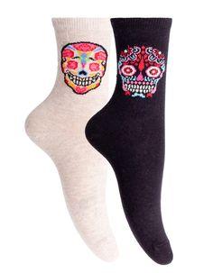 Set dos calcetines cortos calaveras