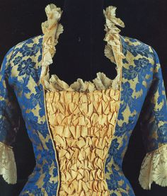 Fashion in details: Princess evening gown, in silk jacquard and machine made silk lace, France, 1878