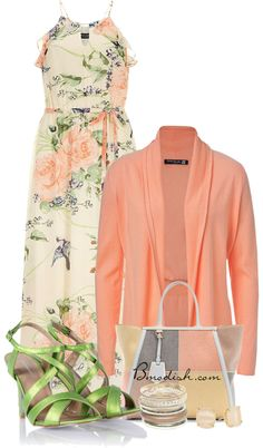 peach cardigan with maxi dress outfit