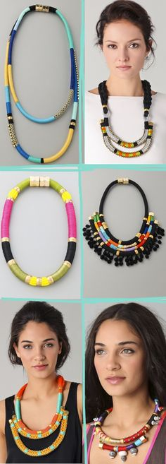 Colorblock necklaces would go so well with the outfits I will be wearing!(Diy Necklace Rope)